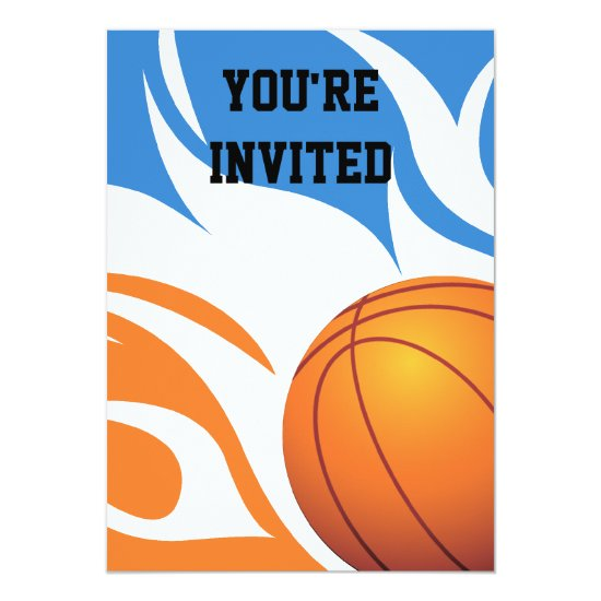 Flaming Basketball Birthday B/O Party Invitation