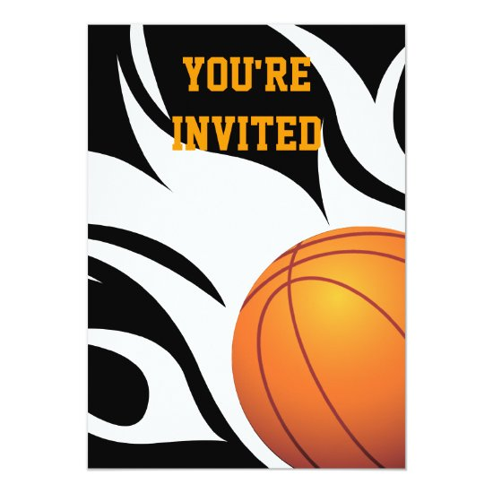 Flaming Basketball Birthday B/W Party Invitation
