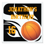 Flaming Basketball Birthday BW Party Custom Invitation