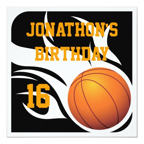 Flaming Basketball Birthday BW Party Invitation