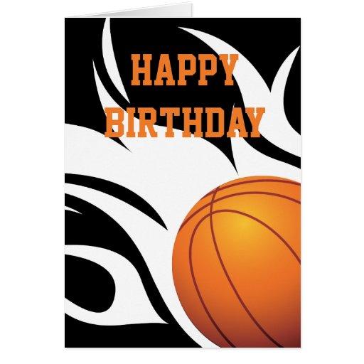 ... Basketball Black and White Happy Birthday Greeting Card | Zazzle: www.zazzle.com/flaming_basketball_black_and_white_birthday_card...
