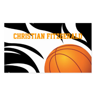 Flaming Basketball Black and White Business Card Templates