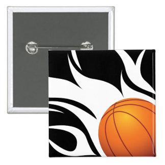 Flaming Basketball Black and White Pin