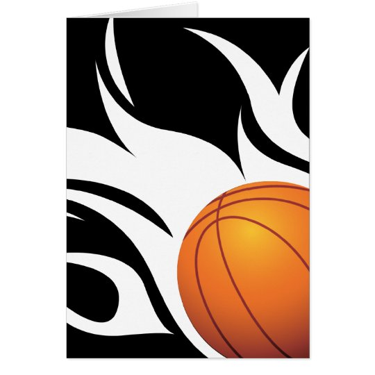 Flaming Basketball Black and White Card