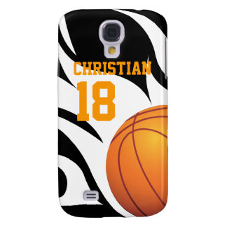 Flaming Basketball Black and White Samsung Galaxy S4 Cover
