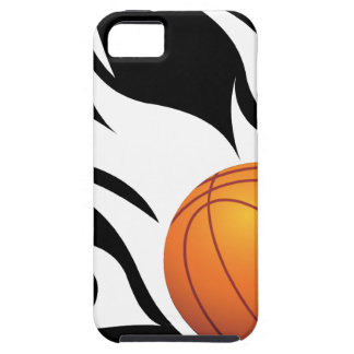 Flaming Basketball Black and White iPhone SE/5/5s Case
