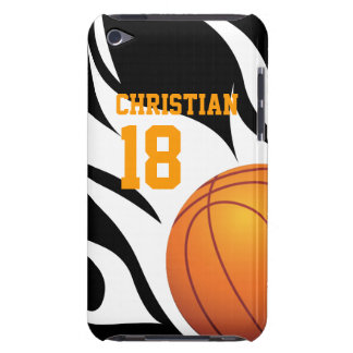 Flaming Basketball Black and White iPod Touch Case