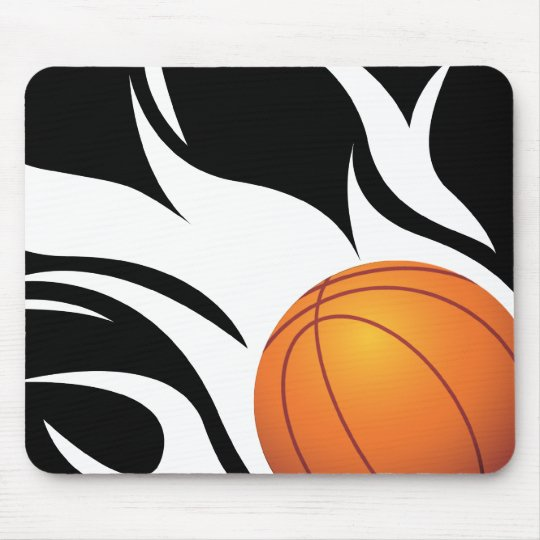 Flaming Basketball Black and White Mouse Pad
