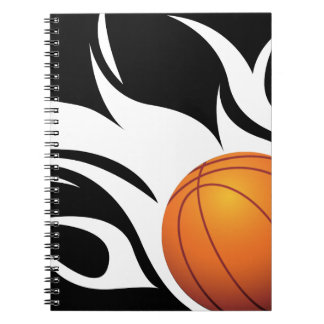 Flaming Basketball Black and White Spiral Notebook