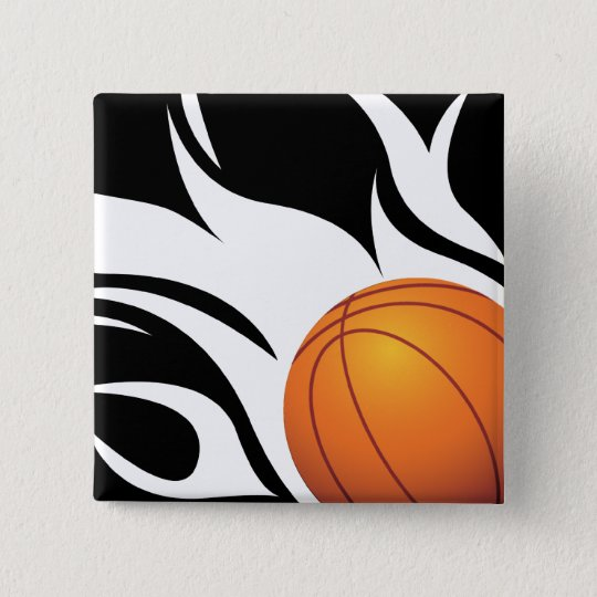 Flaming Basketball Black and White Pinback Button