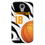 Flaming Basketball Black and White Samsung Galaxy S4 Cases