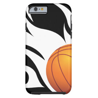 Flaming Basketball Black and White Tough iPhone 6 Case