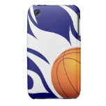 Flaming Basketball Blue and White iPhone 3 Case-Mate Cases