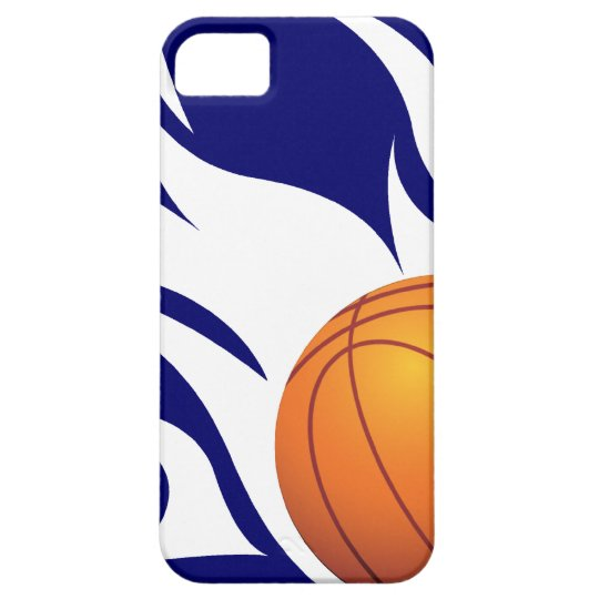 Flaming Basketball Blue and White iPhone SE/5/5s Case