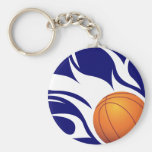 Flaming Basketball Blue and White Keychain