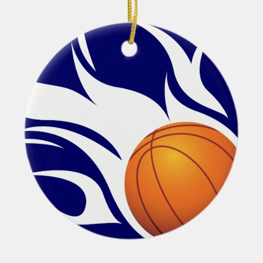 Flaming Basketball Blue and White Double-Sided Ceramic Round Christmas Ornament
