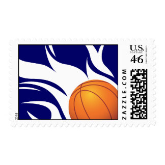 Flaming Basketball Blue and White Postage Stamps