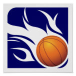 Flaming Basketball Blue and White Print