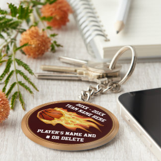 Flaming Basketball Gifts for Players PERSONALIZED Keychain