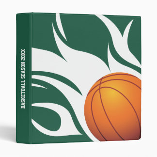 Flaming Basketball Green and White 3 Ring Binders