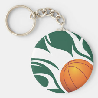 Flaming Basketball Green and White Key Chains