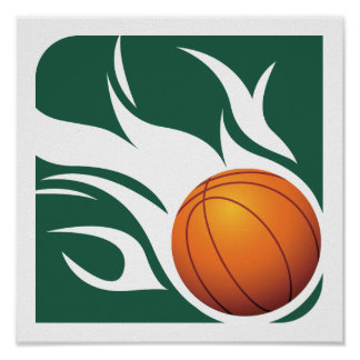 Flaming Basketball Green and White Poster