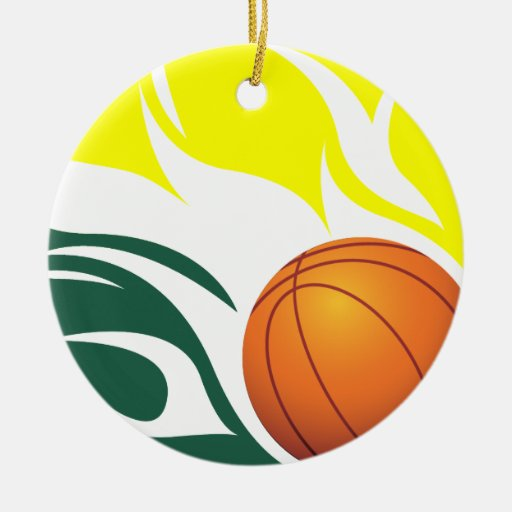 Flaming Basketball Green And Yellow Ceramic Ornament Zazzle