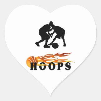 Flaming Basketball Hoops Heart Sticker
