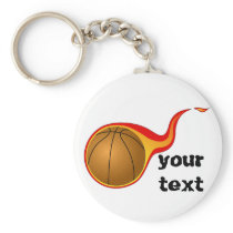 flaming basketball keychain