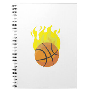 Flaming Basketball Spiral Note Book