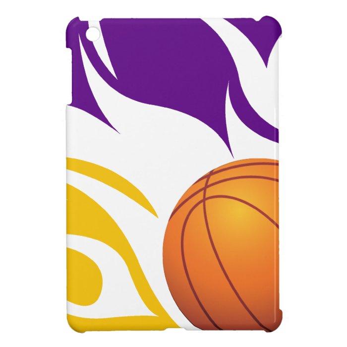 Flaming Basketball Purple and Gold iPad Mini Cases | Zazzle