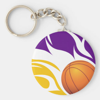 Flaming Basketball Purple and Gold Keychains