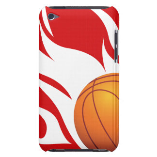 Flaming Basketball Red and White Barely There iPod Covers