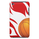 Flaming Basketball Red and White Barely There iPod Cover