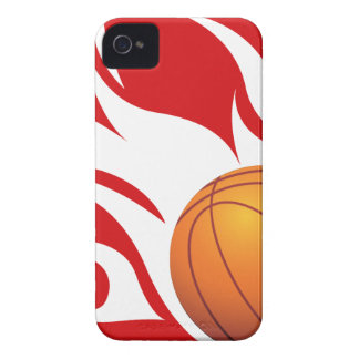 Flaming Basketball Red and White iPhone 4 Case-Mate Case