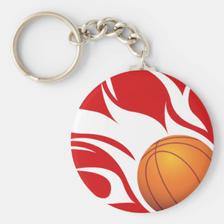 Flaming Basketball Red and White Key Chain