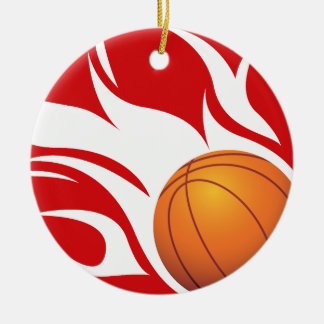 Flaming Basketball Red and White Christmas Tree Ornament