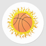 Flaming Basketball Stickers