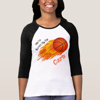 Flaming Basketball Womens Basketball Tshirts