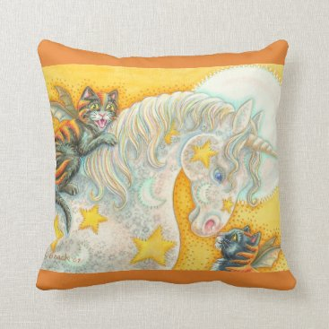 Halloween Themed FLAMING BAT CATS AND UNICORN THROW PILLOW