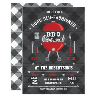 Flaming BBQ Grill Invitation, Chalkboard / Gingham Card