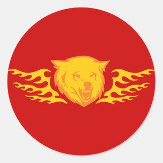 Flaming Bear #2 Classic Round Sticker