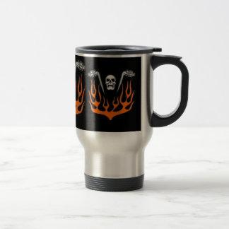 Flaming Biker Skull Travel Mug