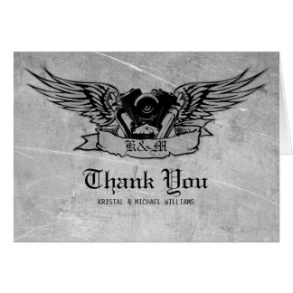 Flaming Biker Thank You Greeting Cards