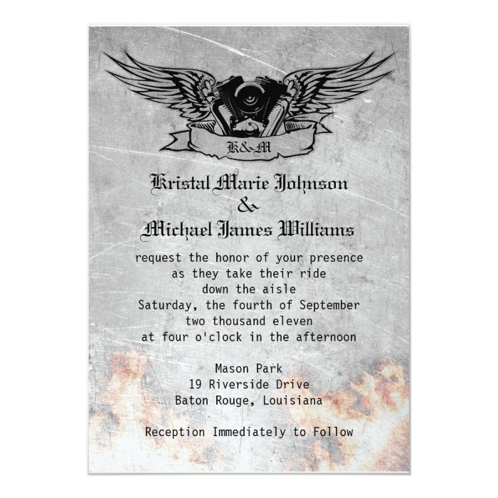 Flaming Biker Wedding Card | Zazzle