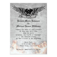 Flaming Biker Wedding Invitation