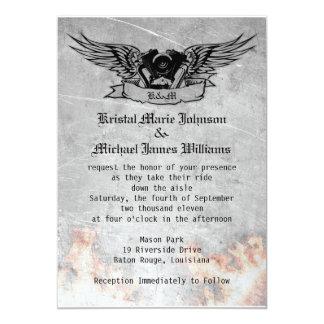 "Flaming Biker Wedding 5"" X 7"" Invitation Card"