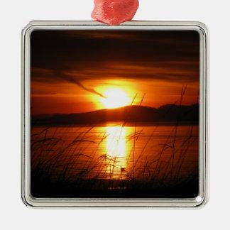 Flaming Birch Bay Sunset Ornament