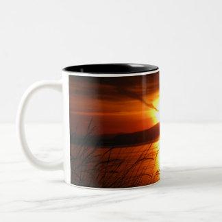 Flaming Birch Bay Sunset Two-Tone Coffee Mug