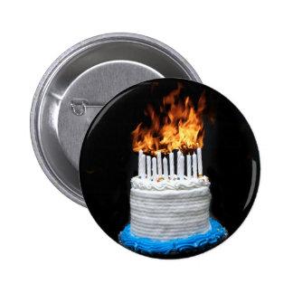 Flaming Birthday Cake Pinback Button